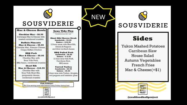 Postponed until further notice - New Sousviderie Menu - Offered Daily